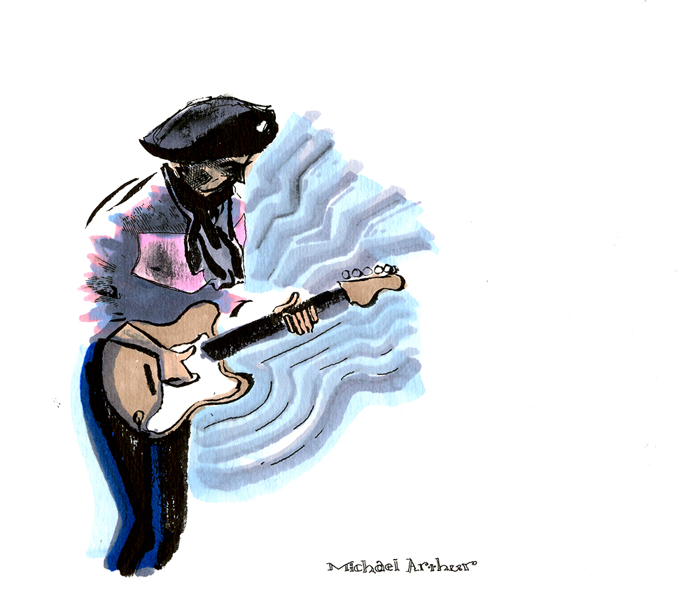 joespub :     Living Legend and one of Rolling Stone's top guitarists of all time Richard Thompson last night at Joe's Pub celebrating his beast of a new record Electric. Art courtesy of Joe's Pub archival artist Michael Arthur.