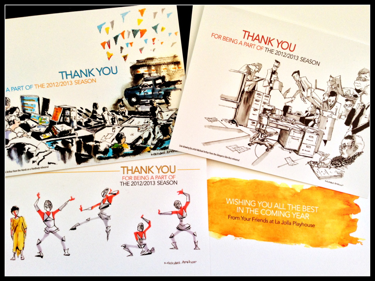 Holiday cards from La Jolla Playhouse featuring my drawings…