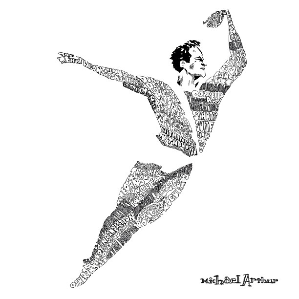 Body Of Work. Drawing of José Manuel Carreño upon his retirement from American Ballet Theatre. Contains every dance he performed with the company.