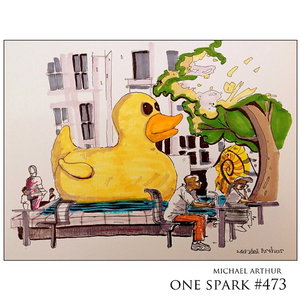 Hemming Plaza…with big yellow ducky. @beonespark
