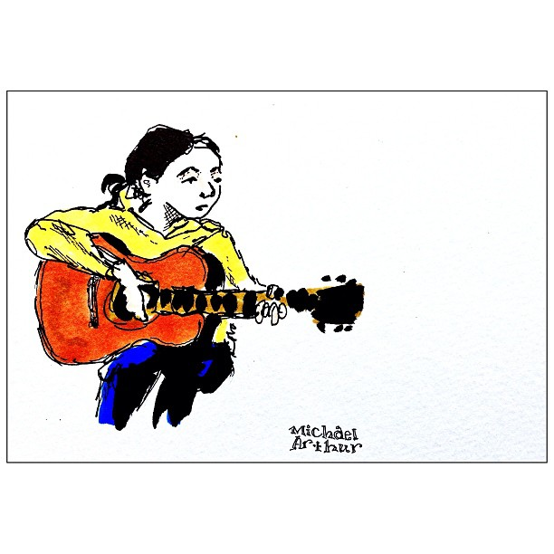 Another recently colored drawing from a ways back. @annienerd on the road w #balthropalabama. #drawing #sketchbook #penandink #guitar #music #portrait #comix #comics #illustration  #cartoon #latergram