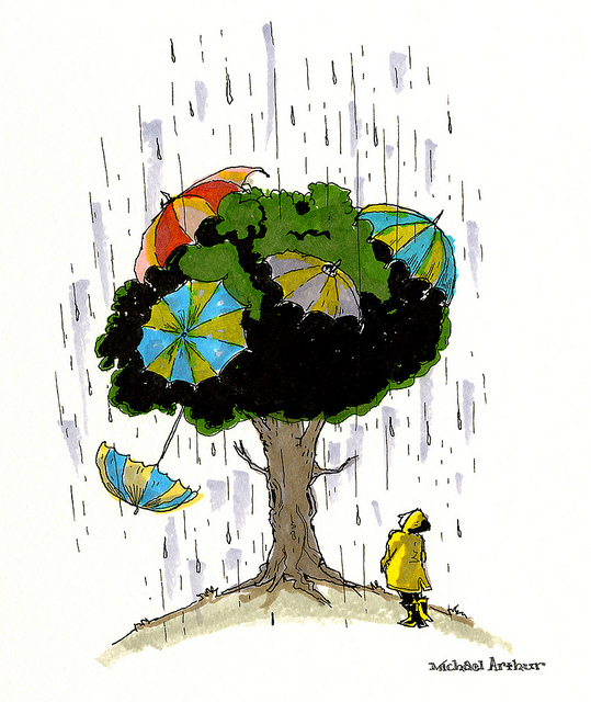 The Umbrella Tree  on Flickr.  Drawing for a Rainy Friday