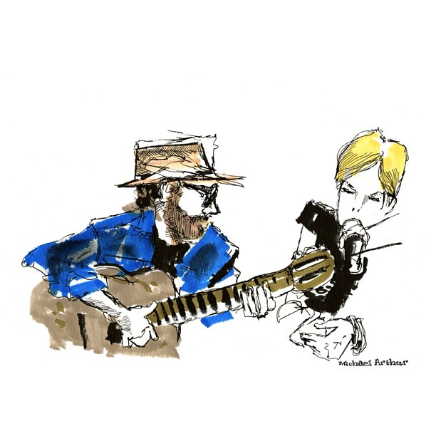 From two years back (in honor of Bonnaroo): In the Bonnaroo Radio studio with Daniel Lanois and Trixie Whitley. #drawing #latergram #sketchbook #livedrawing #illustration #comix #portrait #daniellanois #trixiewhitley #bonnaroo