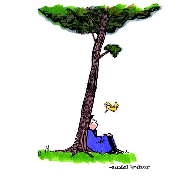 Sunday Morning Drawing. #drawing #sketchbook #cartoon #comix #comics #art #illustration #penandink #trees #hummingbird #quiet