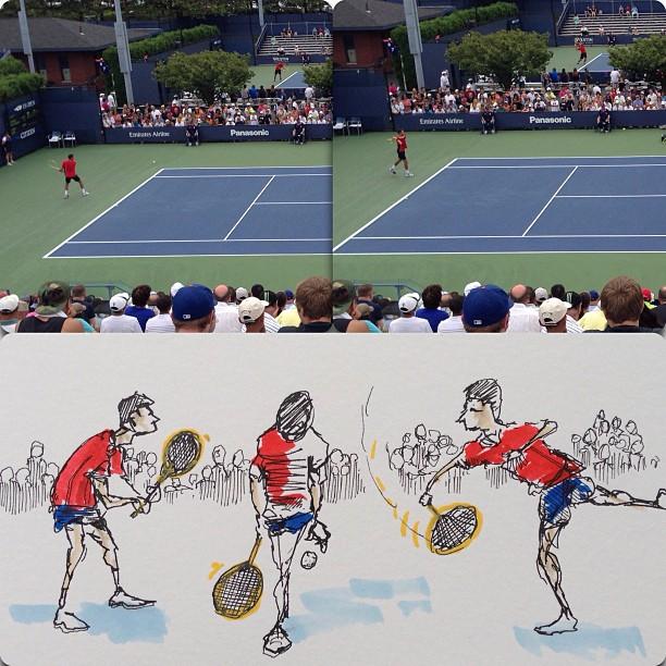 US Open Qualifiers. #drawing #sketchbook #cartoon #comics #comix #art #sketch #illustration #penandink #tennis #usopen #jameswood (at 2013 US Open Tennis Championships)