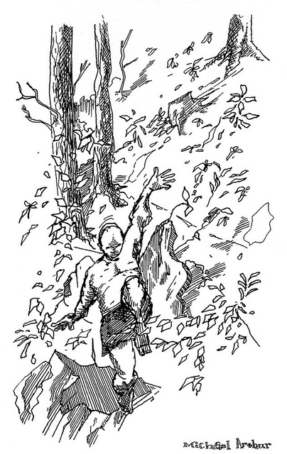 The Jump  on Flickr.  Scanned and cleaned version of that drawing over the weekend. From a lovely weekend near Wassaic, NY….
