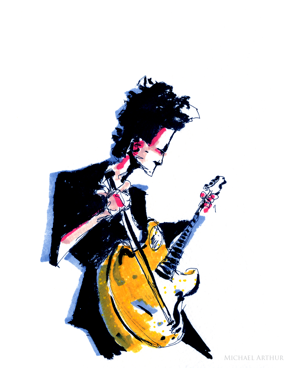 joespub :     Brandon Seabrook—guitarist for  Joey Arias —September 19 at Joe's Pub.    Drawing by  Michael Arthur .