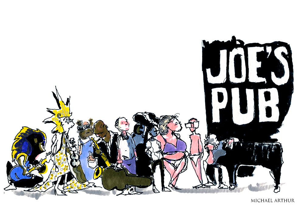 joespub :     Happy 15th Anniversary to Joe's Pub! Here's a drawing from Joe's Pub's Archival artist,  Michael Arthur , inspired by a few memorable shows from his seven years of drawing at the Pub. If you'd like to come and draw at the Pub check out  this opportunity !