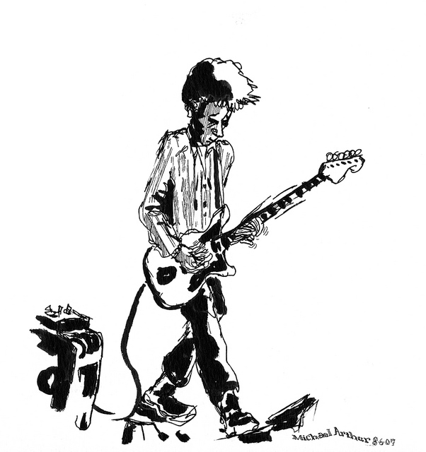 nels-cline  on Flickr.   Leading up to next week's opening of the show of my work at  Joe's Pub , I'm sharing a few drawings from my years at the Pub. First up is Nels Cline from Wilco in a show he played along with Jennie Schienman!