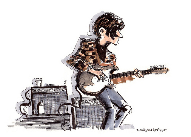 Sam Cohen (Yellowbirds, Apollo Sunshine) in rehearsial studio for The Complete Last Waltz on Flickr. I've been hanging with The Complete Last Waltz All Stars the last few days. I'm currently in the car, headed to Port Chester for the soundcheck and show. It's a good way to celebrate Thanksgiving eve! I'll share my drawings throughout the day as time permits…