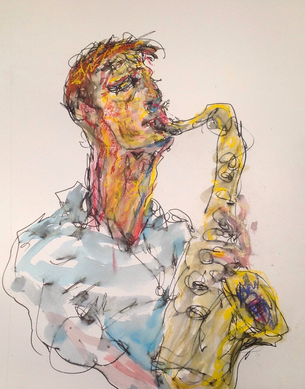 mountvision: Sax player of the terrific band Emefe drawn at Joe's Pub on November 19th when artists were invited to come and draw Emefe and Balthrop, Alabama, a fantastic night of community.