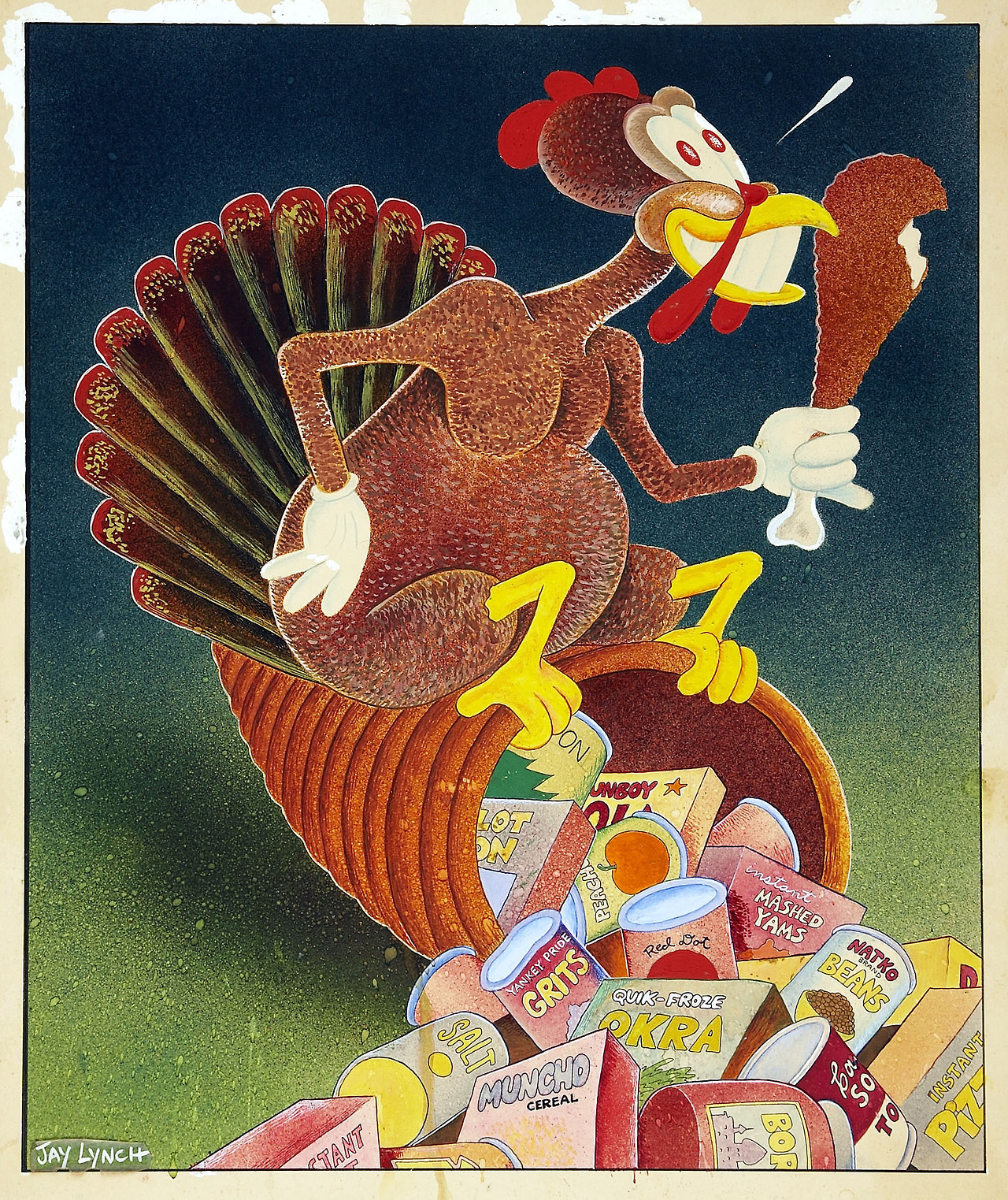 thebristolboard: Midwest Magazine Thanksgiving illustration by underground comix legend, Jay Lynch, 1972.