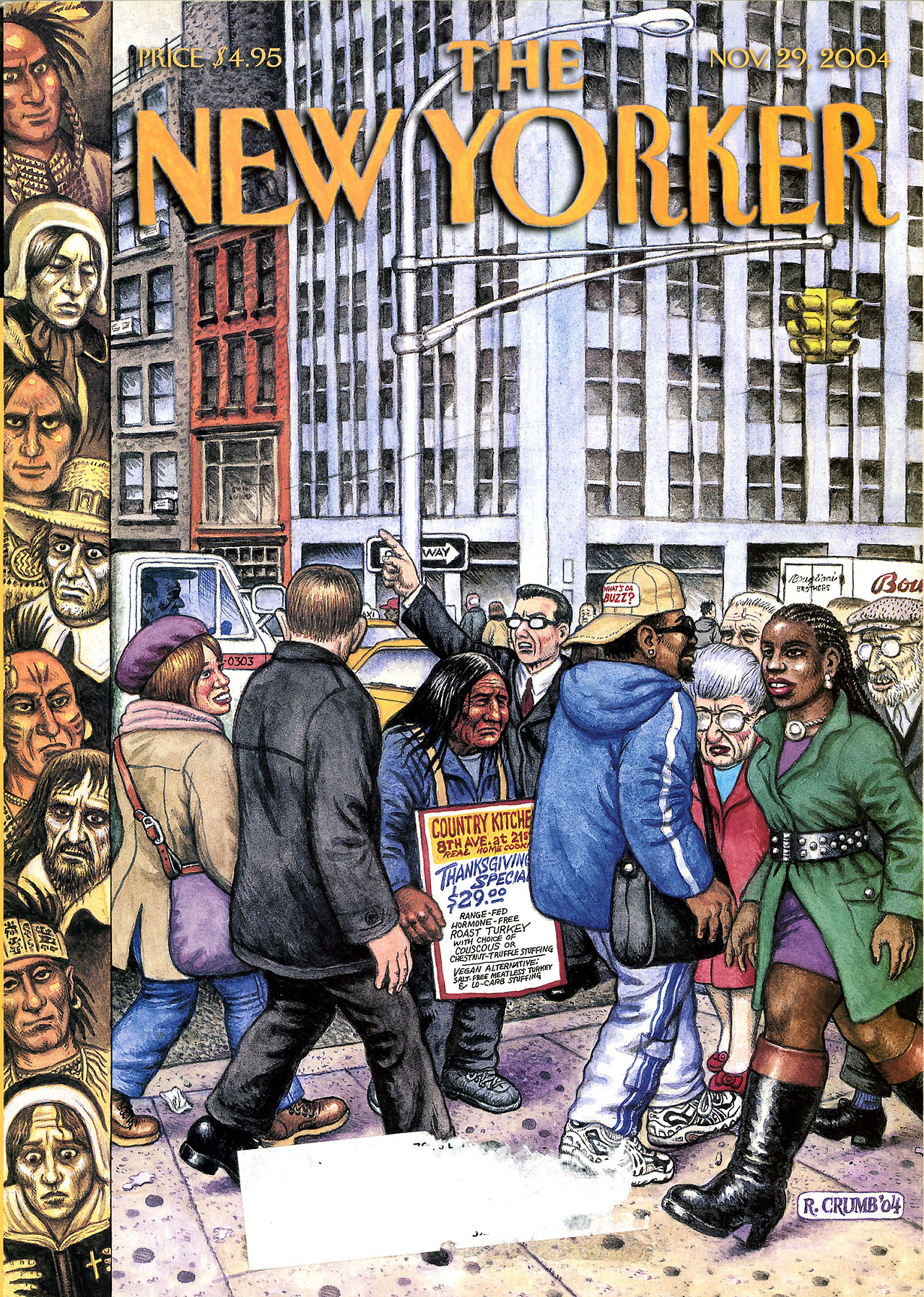 fantagraphics :      thebristolboard :     Classic  New Yorker  cover by Robert Crumb, November 29, 2004.     Happy Thanksgiving,  Crumb  style.