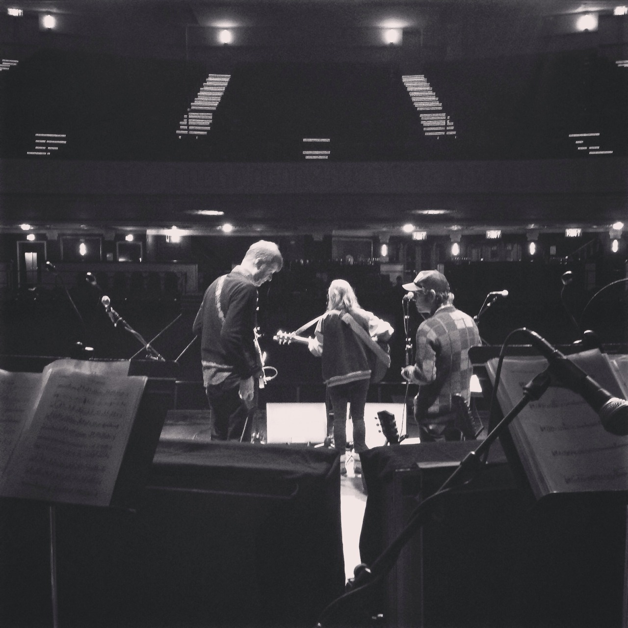 Nels Cline (Wilco), Sam Cohen (Yellowbirds, Apollo Sunshine) and Jocie Adams (The Low Anthem) at soundcheck for The Complete Last Waltz a few weeks back.