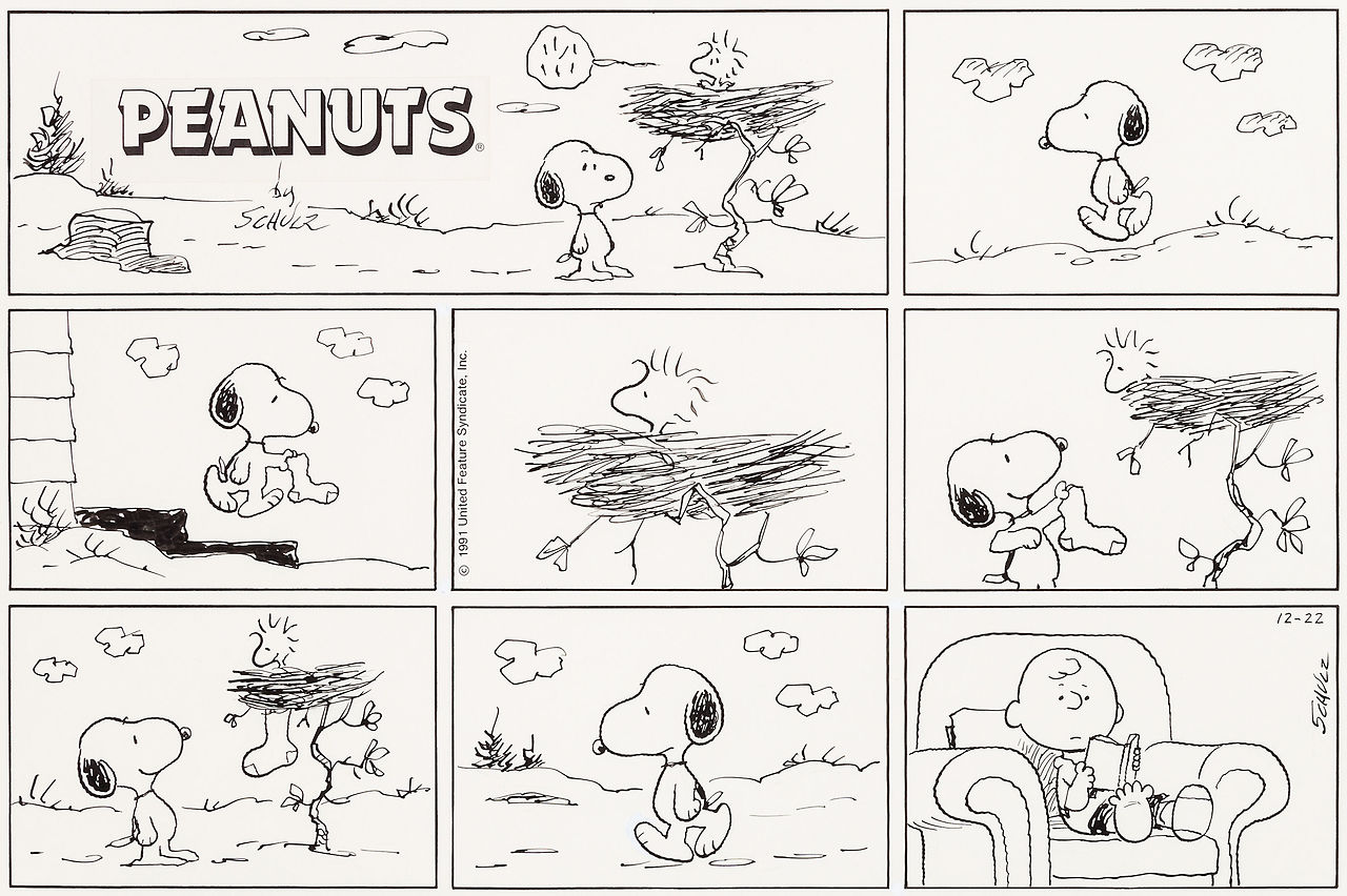 thebristolboard :     Happy holidays! Original  Peanuts  Sunday strip by Charles Schulz, Christmas 1991.