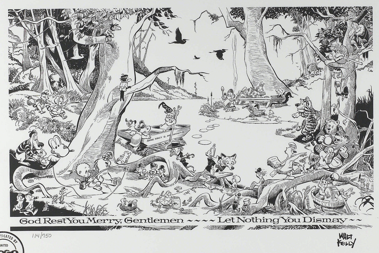 "fantagraphics :      thebristolboard :     ""Christmas Greetings,"" a limited edition  Pogo  print by Walt Kelly.      Our  Pogo  books"