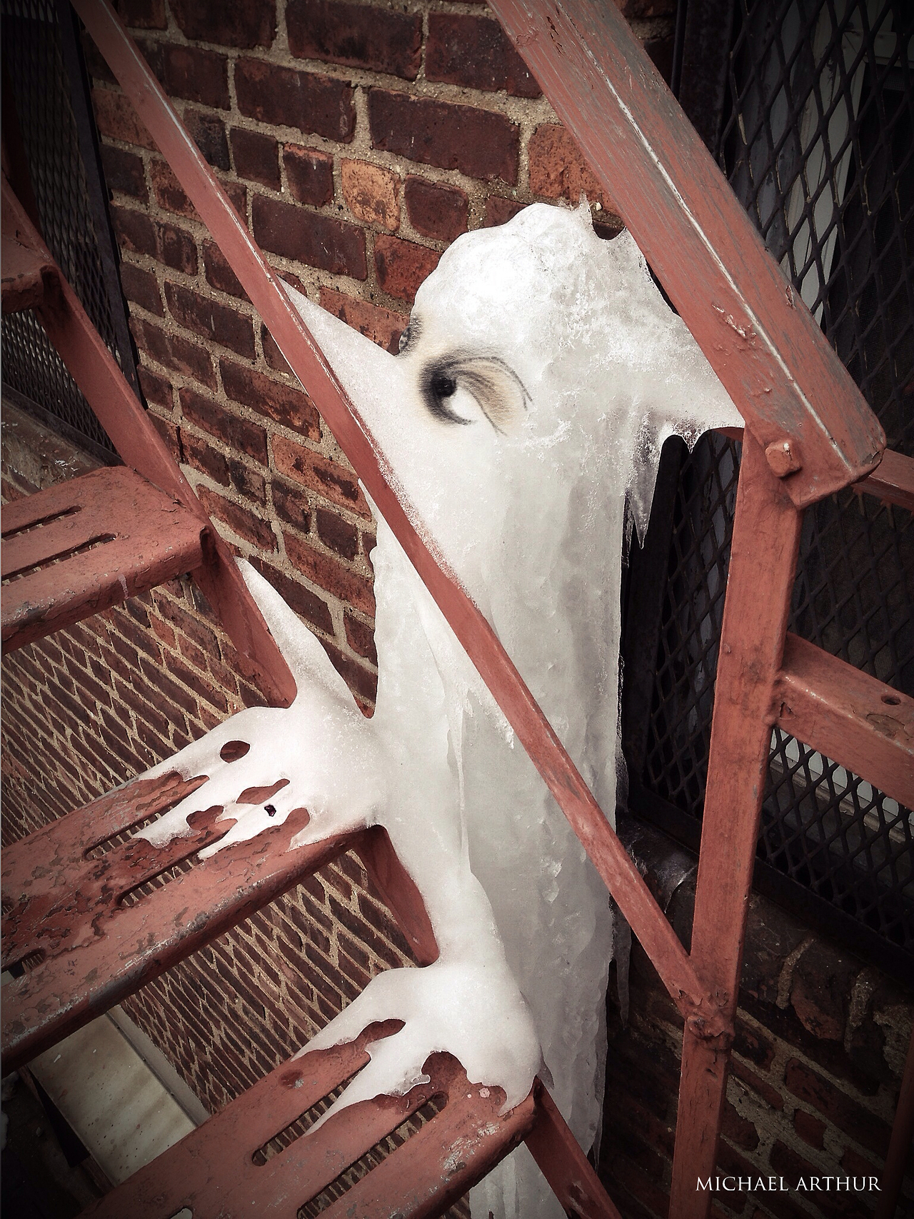 Out back of the studio, there's an ice monster.