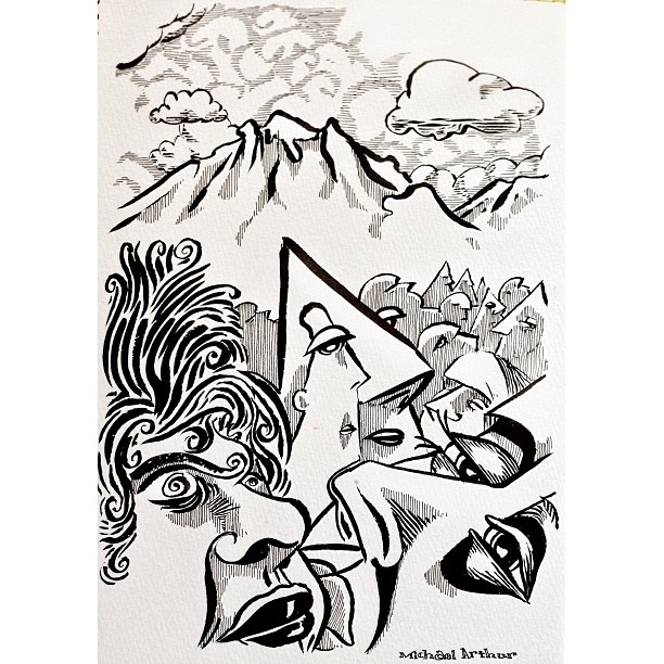 Valley of the Heads #drawing #penandink #sketchbook #cartoon #comix #comics #art #illustration #mountains #valleys #heads #clouds #blackandwhite #psychedelic