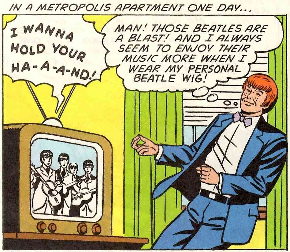"wabisabiforrobots :      signalwatch :     Jimmy Olsen - Beatles Fanatic!     ""Made of real Beatles' hair! Man, that Stuart Sutcliffe is one hell of a guy."""