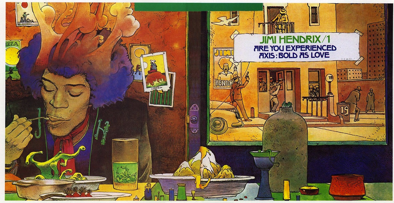 "joespub :     Moebius's Cover for Jimi Hendrix's French release of Are You Experienced/Axis: Bold As Love.     ""It is difficult to give advice to aspiring artists. There are so many things one should say. It's difficult to be brief. Every artist is different, and good advice for one artist is bad for another. My best advice would be, ""   Be what you must be, and do your best   ."" Anything more precise, more specific, cannot apply, because everyone is too different.""         —Moebius      Good advice…"