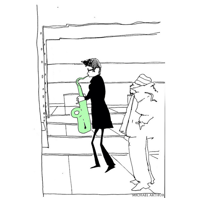 Subway Sketchbook: The Sax Player at West 4th Street on Flickr.