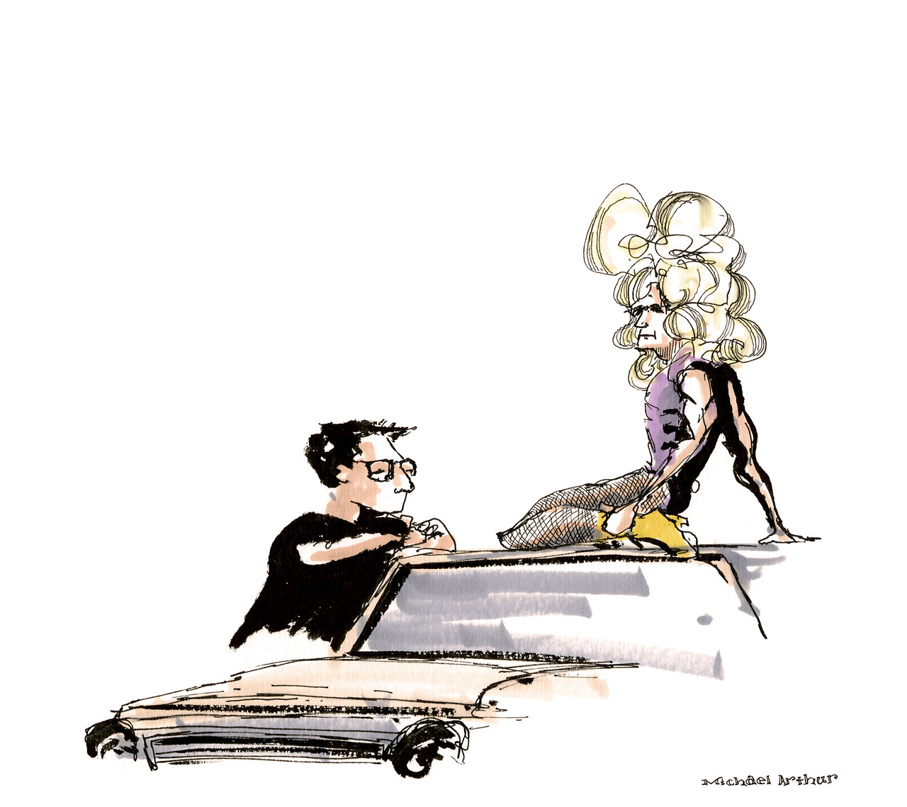 "newyorker :     Take a look at  Michael Arthur 's sketches of rehearsals for the Broadway revival of ""Hedwig and the Angry Inch,"" starring Neil Patrick Harris:  http://nyr.kr/1ewK8Ky     Above: The director Michael Mayer and Neil Patrick Harris.     Well, check out my drawings, via  newyorker ."