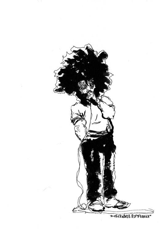 joespub :     Flashback:  reggiewatts  at Joe's Pub. Drawing by  inklines  (Michael Arthur).