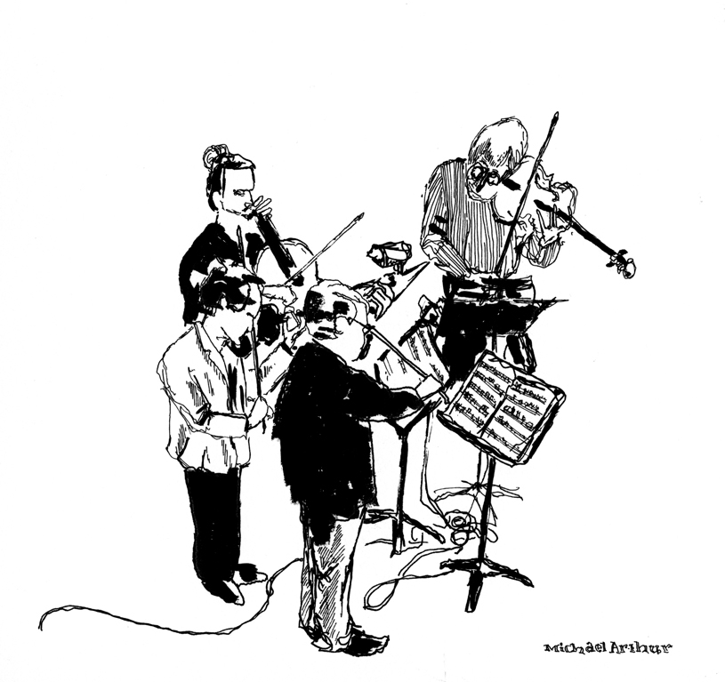 joespub :     Flashback: The Emerson String Quartet at Joe's Pub. Drawing by Michael Arthur (  inklines )