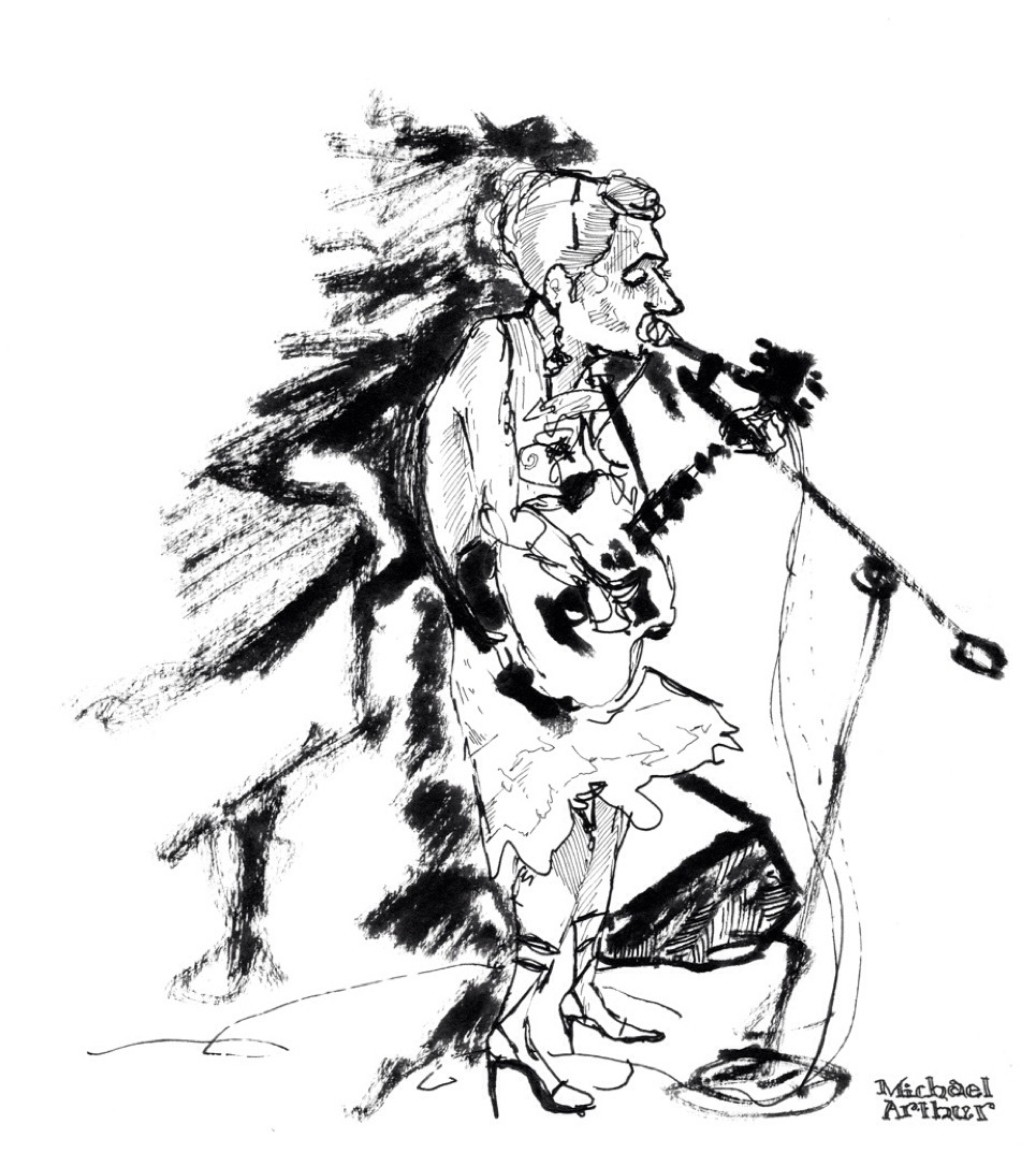 joespub: Happy Birthday, Martha Wainwright! (Drawing by Michael Arthur inklines)