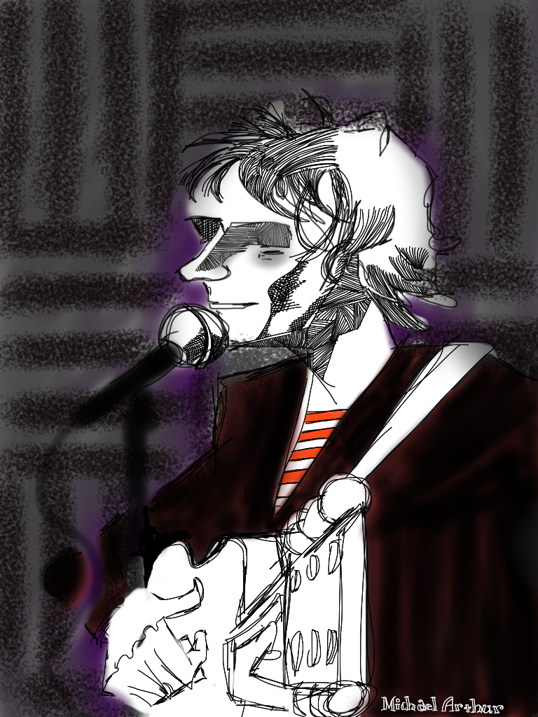 Just found this old drawing I drew (with my finger on an iPad) of Mike Viola at  joespub . Pretty sure I was using the Brushes program, but it might have been Sketchbook Pro. I like the way it's sort of somewhere between finished and not.