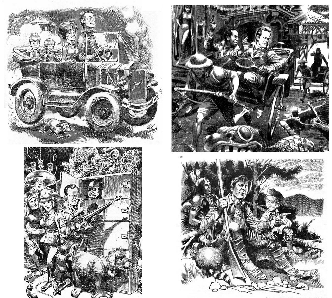 fantagraphics :      jackdavisfoundation :     Jack Davis's various interior illustrations for TV Guide, cira mid 1960's.      Jack Davis