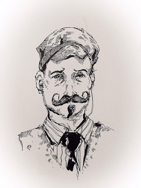 Subway Sketchbook: Handlebar Hipster Avec Earbuds  on Flickr.