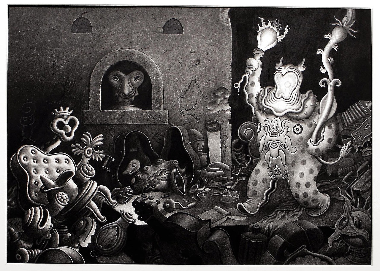 "thebristolboard :     ""Back Home,"" an original charcoal illustration by Jim Woodring from  Seeing Things , published by Fantagraphics, 2005."
