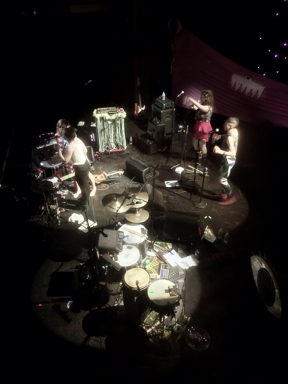 tune-yards from my vantage point last night…they nicely set me up in a room above the stage where I could get a good perspective for drawing.