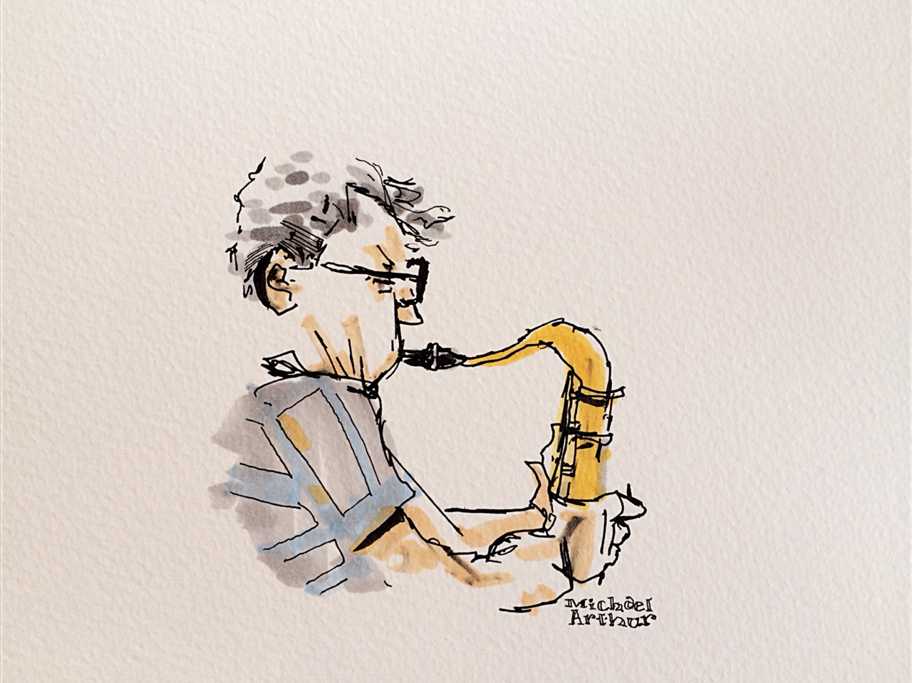 Downtown sax in Lawrence, Kansas. I'm here for the next few days, performing live drawings tonight with a jazz band and choir in Langston Hughes old church…