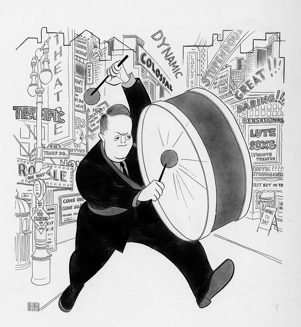 joespub: Lubrications of a Press Agent by Al Hirschfeld (1946). The Tony Awards are tomorrow night and we thought we'd salute the folks who really make a difference around this time of year: The Publicists.