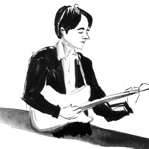 joespub :     Michael Arthur ( Inklines ) posting again today, featuring another artist submission! This time it's a lovely, simple drawing of my friend Michael Leviton from  chadilaksono . What a lovely surprise to see someone I know drawn so beautifully. Check out Caroline's page for many other beautiful line and wash drawings of scenes from NYC music and life.   I hope Caroline can join us as our guest for drawing the  Balthrop, Alabama show on November 19 ! We're looking for lots of people to come and draw along! If you want to submit drawings for us to consider, check out  the original post here ! We'll be featuring drawings EVERY DAY from now until November 19!   As a side note—have you ever seen Michael Leviton's beautiful video for his song  Summer's The Worst ? It's one of my favorites . .  .