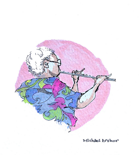 "The Flutist  on Flickr.  Last night, as I was leaving rehearsal for Bill Condon's revival of Sideshow at La Jolla Playhouse, composer Henry Krieger grabbed me and steered me towards a rehearsal studio where the orchestra was going over new arrangements. ""Bring your drawing stuff,"" he said …"