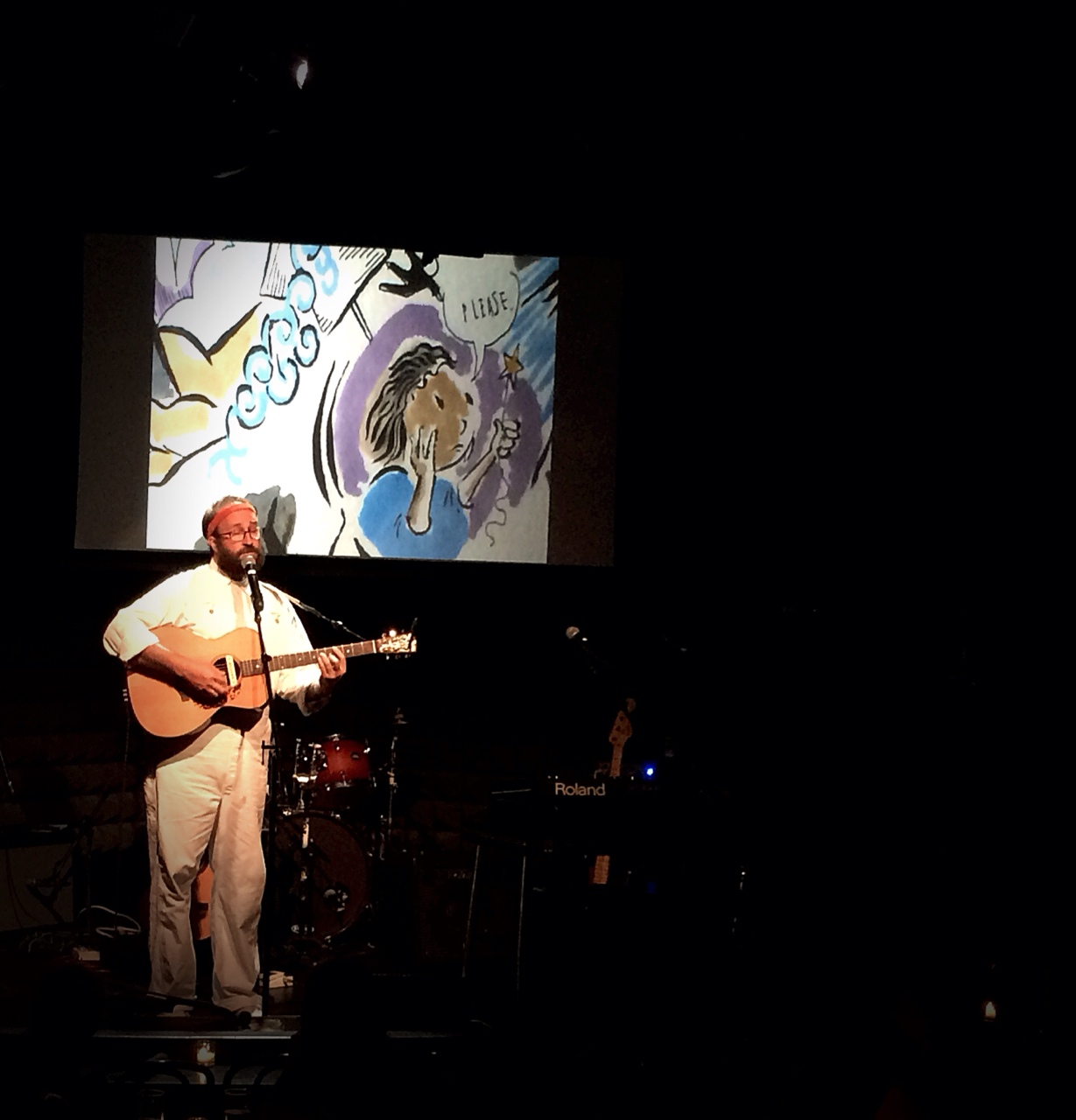We had a great time last night at  joespub . Here's Pascal doing our encore in front of the drawing I did for Georgiana Starlington. Performing with Balthrop, Alabama is the best thing I get to do …