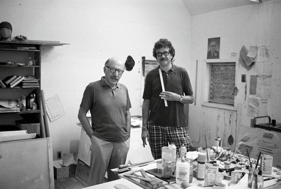 "austinkleon: Saul Steinberg and Kurt Vonnegut In A Man Without A Country, Vonnegut called Steinberg ""the wisest person I ever met in my entire life"": I could ask him anything, and six seconds would pass, and then he would give me a perfect answer, gruffly, almost a growl. He was born in Romania, in a house where, according to him, ""the geese looked in the windows."" I said, ""Saul, how should I feel about Picasso?"" Six seconds passed, and then he said, ""God put him on Earth to show us what it's like to be really rich."" I said, ""Saul, I am a novelist, and many of my friends are novelists and good ones, but when we talk I keep feeling we are in a very different businesses. What makes me feel that way?"" Six seconds passed, and then he said, ""It's very simple. There are two sorts of artists, one not being in the least superior to the other. But one responds to the history of his or her art so far, and the other responds to life itself."" I said, ""Saul, are you gifted?"" Six seconds passed, and then he growled, ""No. But what you respond to in any work of art is the artist's struggle against his or her limitations.' Filed under: Steinberg, Vonnegut"