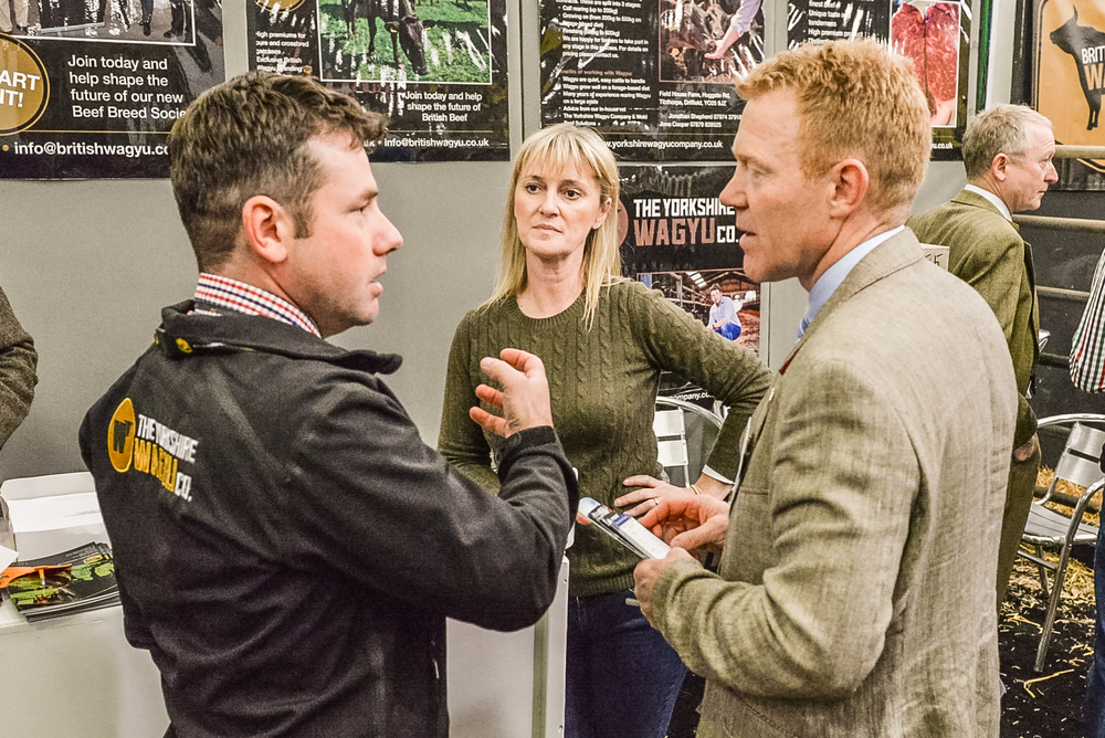 Wagyu stand at Beef Expo. WBA Directors Jonathan Shepherd & Martine Chapman with Adam Henson.jpg