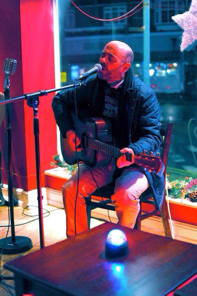 Playing, who knows what - blues, country, at Quench. Photo: Wayne Docherty