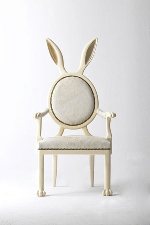 "I am, I said. ""I know,"" says the weird chair with bunny ears, ""Tell me about it."""