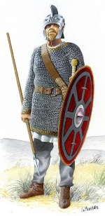 A 4th century legionary - notice the mail coat, round shield, longer sword and thrusting spear. Much different from the 'classic' image of a Roman legionary with segmented armour, short sword and large curved shield*.