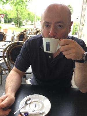 Deauville - May 2018. Tim drinks coffee. The twittersphere goes crazy. Photo: Eva Green**