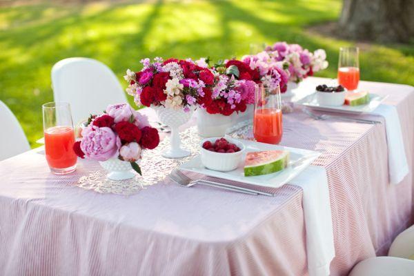 Flowers | Pink Peonies + Red Coxcomb in milk glass vase