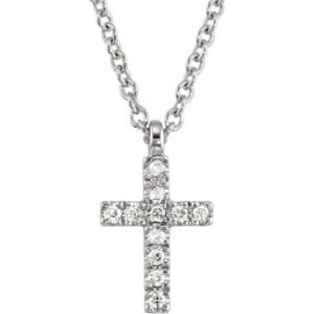 The perfect pairing for our diamond cross earrings, this 11-prond diamond cross necklace is a luxe gift for any little girl. It will sweetly sparkle on her holy communion day and become a keepsake she could pass down to her children.