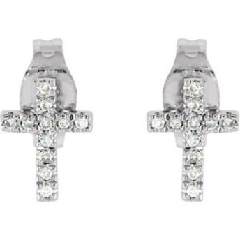 Grandmas and Grandpas, we found the perfect communion gift for your little princess! These diamond cross earrings will sparkle throughout her childhood. The set has twenty-two round prong set diamonds and comes with push posts and back.