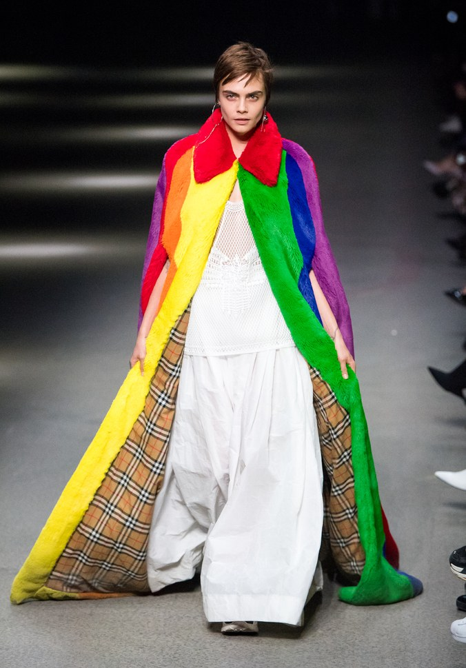 Cara Delevingne closes Burberry Runway Show F/W218. Image: Getty Images.