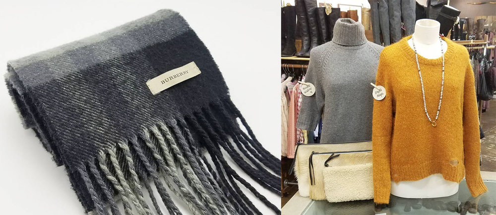 Photos of a Burberry cashmere scarf & luxe cashmere sweaters by Common Threads Boulder.